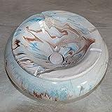 Cenicero antihumo gigante mármol azul marrón y blanco D30 cm