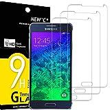 NEW'C 3 Unidades, Protector de Pantalla para Samsung Galaxy Alpha, Antiarañazos, Antihuellas, Sin Burbujas, Dureza 9H, 0.33 mm Ultra Transparente, Vidrio Templado Ultra Resistente