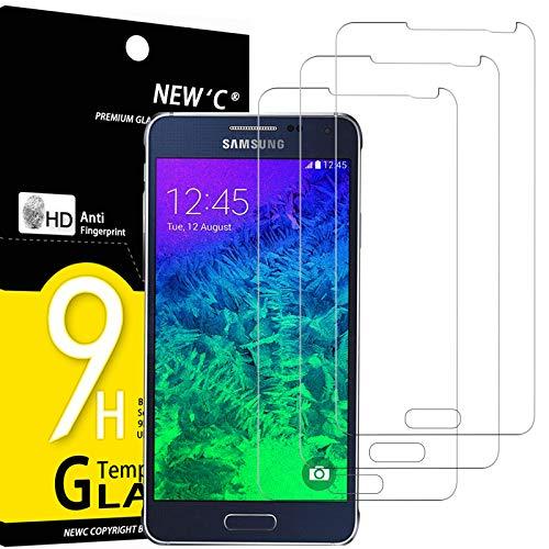 NEW'C 3 Pezzi, Vetro Temperato Compatibile con Samsung Galaxy Alpha, Pellicola Prottetiva Anti Graffio, Anti-Impronte, Durezza 9H, 0,33mm Ultra Trasparente, Ultra Resistente