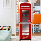 Vinilo Frigorífico Nevera 3d Cabina Telefonica Roja Retro Pegatina Autoadhesivo Puerta Decoracion,60 * 150cm