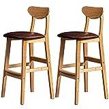 Taburetes de bar con altura de mostrador Taburete de madera con estilo de 2 piezas, sillas de bar de 24 pulgadas / 28 pulgadas con respaldo, marco de madera maciza, muebles de bar para el hogar