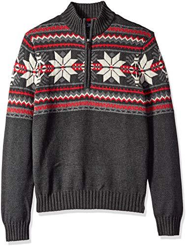 IZOD Men's Fairisle Quarter Zip 5 Gauge Sweater, black heather, Small