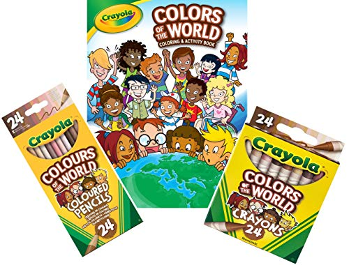 CRAYOLA - Colors of the World Bundle - 24 Crayons + 24 Pencil Crayons + 48 pg Coloring Book - Great for kids of all ages.