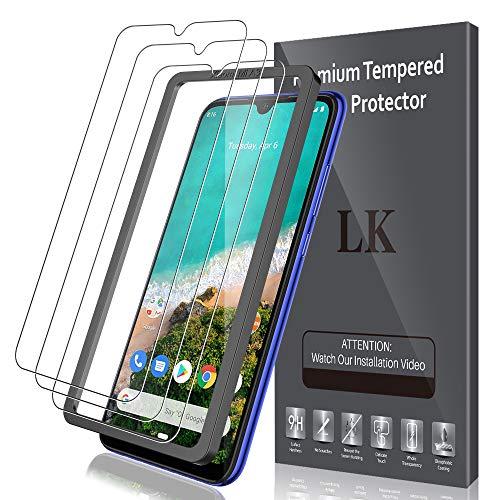 LK Compatible con Xiaomi mi A3 Protector de Pantalla,3 Pack,9H Dureza Cristal Templado, Equipado con Marco de Posicionamiento,Vidrio Templado Screen Protector, X-5