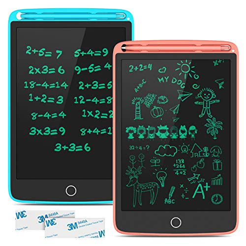TECBOSS LCD Writing Tablet, 2 Pack Magnetic Electronic Writing Drawing Board Erasable Kids Learning Doodle Board, Educational Toys for 3-6 Years Old Boy and Girls, 8.5 Inch (Blue and Pink)
