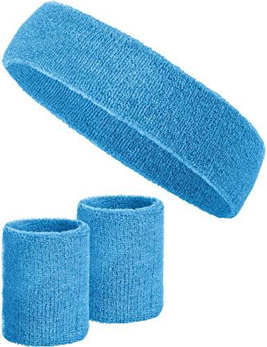 3-teiliges Schweißband-Set mit 2X Schweißbändern für die Handgelenke + 1x Stirnband für Damen & Herren (Hellblau)
