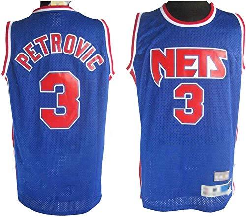 YZQ Basketball Jersey- Brooklyn Nets # 3 Drazen Petrovic - Camiseta Sin Mangas De Baloncesto, NBA Vintage Comfort Teléfono Jersey,L(175~180cm/75~85kg)