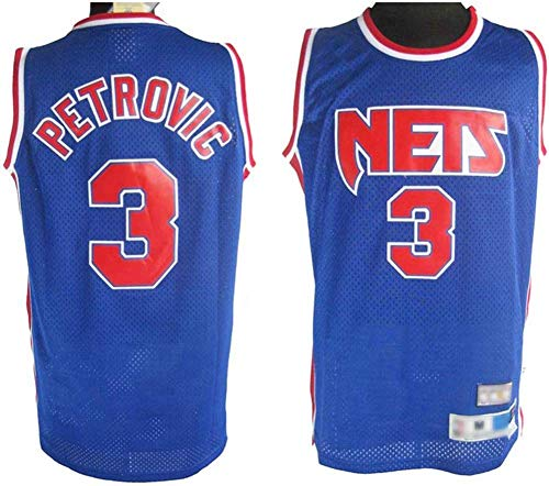 Haoshangzh55 Herren-Basketball-Jersey - NBA Brooklyn Nets # 3 Drazen Petrovic / 32# Julius Erving, Retro Breathable Man Jersey Fans Sport Ärmel T-Shirt,3#Petrovic,M(170~175CM)