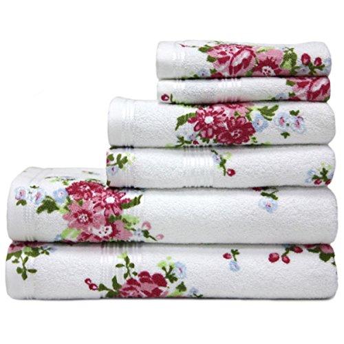 Harwoods - Juego de 4 Toallas para Invitados - 100% algodón portugués - Rosas - Blanco/Rosa