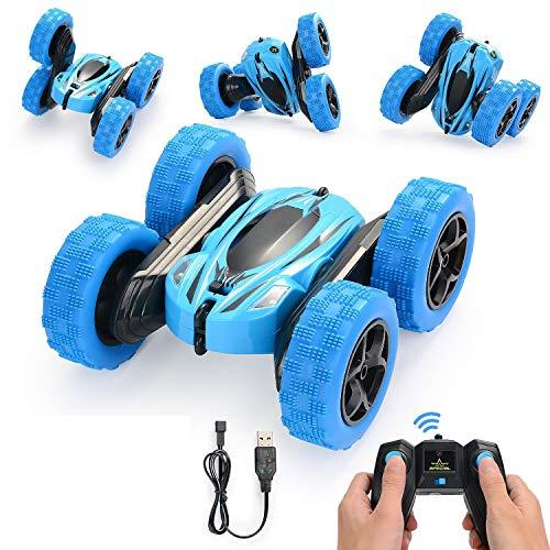 Herefun Ferngesteuertes Auto, Rennauto Spielzeuge Wiederaufladbar RC Stunt Auto Rennauto, High Speed Fernsteuerung Spielzeugauto, Auto Spielzeug Rennfahrzeug Geschenk für Kinder ab 6 7 8 (Blau)