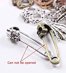 BIHRTC 140 Gram (Approx 92pcs) DIY Assorted Color Antique Metal Steampunk Watch Gear Cog Wheel Skull Musical Note Skull Hand Safety Pin Charms Pendant for Crafting, Jewelry Making Accessory #1