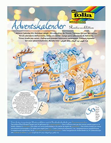 folia 9397 - Adventskalender Rentierschlitten, 50 teiliges Bastelset mit vorgestanzten Schlitten und 24 Geschenkpäckchen zum Zusammenstecken, ideal für kleine Geschenke im Advent
