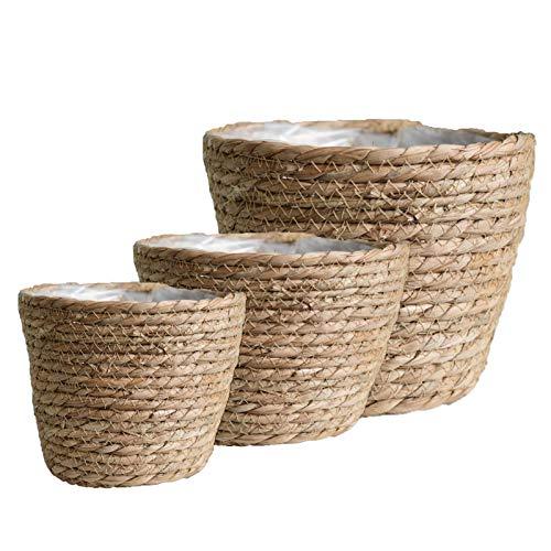 Ligege Maceta de 3 Piezas, macetas de Flores Hechas a Mano, macetero Duradero de Hierba Marina Natural, Organizador de macetas Tejidas, contenedor de lavandería para jardín
