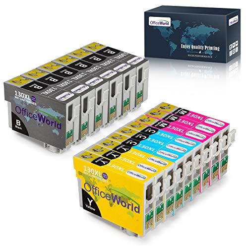 OfficeWorld Ersatz für Epson T1306 Druckerpatronen T1301 T1302 T1303 T1304 Hohe Kapazität Kompatibel für Epson Stylus Office BX535WD BX635FWD BX525WD, Epson Stylus SX525WD, Epson WorkForce WF-7515
