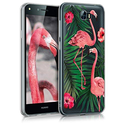Huawei Y6 II Compact (2016) Hülle - Handyhülle für Huawei Y6 II Compact (2016) - Handy Case in Flamingo Palmen Design Rosa Grün Transparent