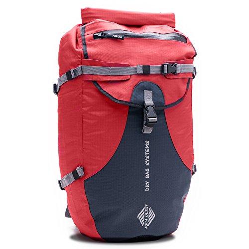Aqua Quest STYLIN Red Day Pack wasserdicht mit Taschen für Wandern, Kajak, Camping