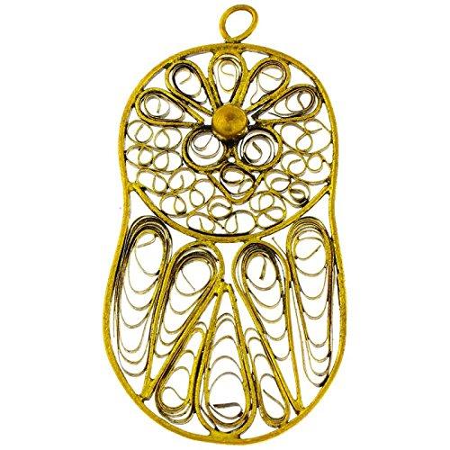 Chic-Net Messing Brass hanger druppel vogel band antiek gouden ketting nikkelvrij dun geoxideerd Tribal