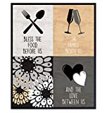 Bless the Food Before Us Sign - Dining Room Decor - Kitchen Wall Decor - Floral Home Decoration Wall Art for Cafe, Restaurant, Coffee Bar - Blessed Religious Christian Gift for Women, Cooks, Chefs