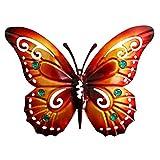 DOITOOL Papillon en Métal Décoration Murale Papillon 3D Décoration Murale Vintage pour Salon Chambre (Orange)