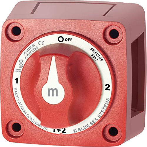 Blue Sea Systems Selector 4 Pos. m-Series Mini Selector Battery Switch - Red, 2-7/8' x 2-7/8'