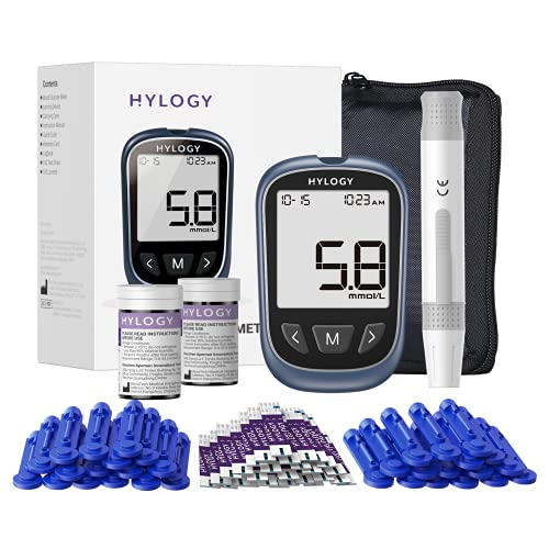 Medidor de glucosa en sangre,kit de prueba de diabetes con 100 codefree Trias,100 lancetas para ES diabéticos en mmol/L