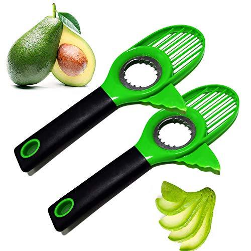 Cortador de aguacate, cortador de aguacate 3 en 1, herramienta de corte de aguacate, removedor de aguacate multifuncional, herramienta de cocina para pelar frutas y verduras