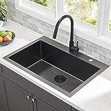 Comllen Commercial Black 33 Inch 304 Stainless Steel Kitchen Sink,Single Bowl Kitchen Sink 10 Inch...