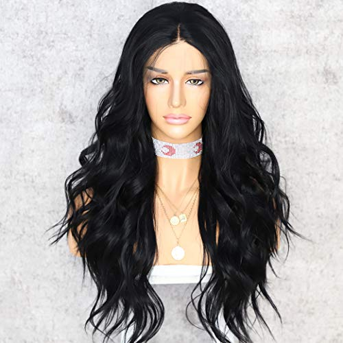 Sapphirewigs Black Natural Wavy Kanekalon Futura Wedding Hair No Tangle Glueless Women Party Beauty Blogger Daily Makeup Synthetic Lace Front Wigs