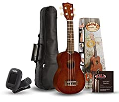 Includes: A Makala Classic Soprano Ukulele, clip-on tuner, gig bag, and instruction pamphlet. Excellent for the novice or intermediate player Top, Back, Sides, and Neck: Mahogany Satin Finish; Aquila Super Nylgut Strings
