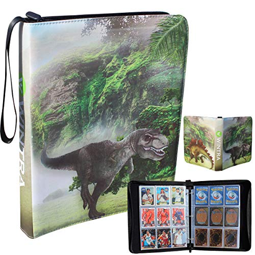 WINTRA Dinosaur Themed Card Binder with Disassemble Sleeve Pages, Zippered 9-Pocket Card Holder Book with Handle,720 Pockets Collectors Album for Standard TCG/CCG Cards (Green)