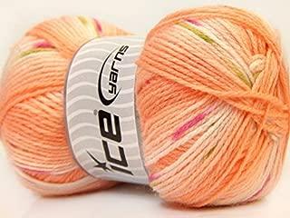 (1) 100 Gram Baby Design Yarn - Orange, Pink, Green Self-Striping, Patterning - Acrylic, 393 Yards