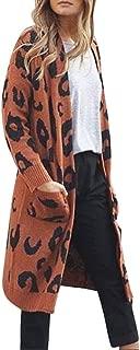 PERFURM Oversized Sweater Womens Patchwork Rainbow Stripe Open Front Cardigan Casual Leopard Knitwear Coat Outerwear