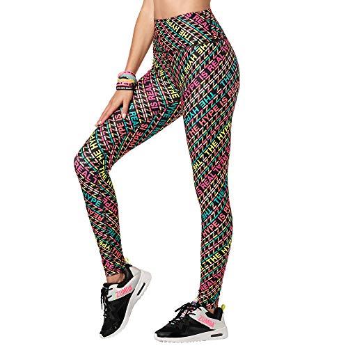 Zumba Workout High Waist Leggings Stilvoll Fitness Gym Kompression Sporthose Damen, Multi Black, L