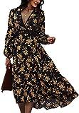 Zilcremo Femme Robe Été Mi-Longue Manches Courtes Robe Col en V Bohème Robes Casual été Plage Floral Robe de Plage Blackfloral XL