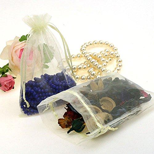 "CMAJOR Organza Bags 100pcs Satin Drawstring Wedding Favor Jewelry Candy Watch Party Gift Pouch (4"" x 6"", Orange)"