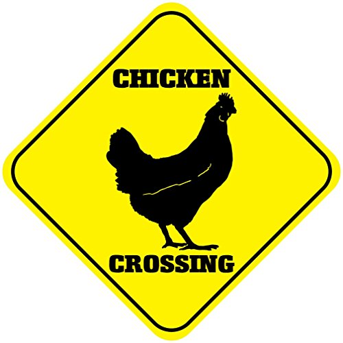 "Lustiges Metallschild aus Aluminium mit Huhn-Motiv ""Chicken Crossing"""