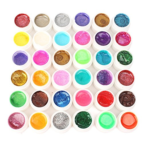 Nail Art 36 Couleurs Paillettes UV Gel Manucure Ongle by DELIAWINTERFEL