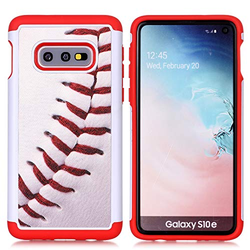 S10 Plus Phone Case - Baseball Sports Pattern Shock-Absorption Hard PC and Inner Silicone Hybrid Dual Layer Armor Defender Protective Case Cover for Samsung Galaxy S10 Plus 6.4 Inch (2019)