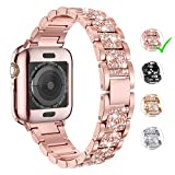 LELONG for Apple Watch Band 38mm 40mm 42mm 44mm Series 5 Series 4 3 2 1 with Case, Bling Replacement Bracelet iWatch Band, Diamond Rhinestone Stainless Steel Metal Wristband Strap