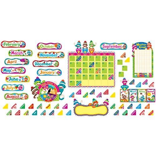 Trend 17-1/2 x 23-1/4 Inches Sock Monkeys Calendar Bulletin Board Set, 102 Pieces (TEPT8416)