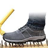 Calzado de Trabajo de Seguridad para Hombres, Zapatos de Deporte Anti-Puncture Anti-Puncture Anti-punción Anti-aplastados con Punta de Acero, Suela, Botas seguras livianas,Gris,46 EU