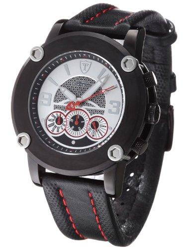 DETOMASO Herren-Armbanduhr Monterosso Schwarz Leder Chronograph Quarz DT1001A