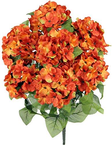 Admired By Nature 2 Künstliche Hortensien mit Blüten, für Zuhause, Restaurant, Hochzeit und Büro, Dekoration, Arrangement, 7 Stiele Kaki-Orange