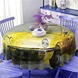 Coche redondo mantel ligero estilo retro clásico 50s 60s Cuban American acuarela grande acogedor coche impresión imagen fácil diámetro 60' salvia verde amarillo