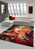 Traum Tappeto Progettista Tappeto Moderno Tappeto Orientale Soggiorno Moquette Grigia con Tatuaggio all'hennè Mano in Rosso Turchese Arancione Macchiato Größe 200 x 290 cm