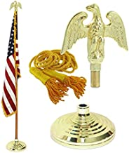 Super Tough Indoor American Cotton Flag, Flagpole, Base & Tassel (Metal Eagle, 8 Ft Oak Pole)