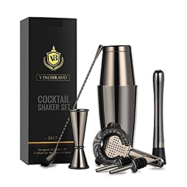 Boston Cocktail Shaker Bar Set By VinoBravo: 18oz & 28oz Weighted Shaker Tins, Hawthorne Cocktail Strainer, Double Jigger, 12'' Mixing Spoon, 7'' Drink Muddler and Recipes (Black)