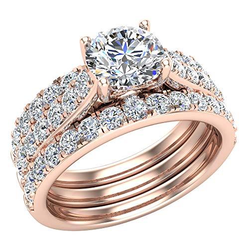Juego de anillos de boda solitarios con diamantes acentuados con bandas realzadoras para novia, 1,90 quilates, oro rosa de 14 quilates (G, SI)