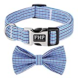 Fourhorse Cute Soft Dog and Cat Collar with Bowtie , Detachable Adjustable Bow Tie Collar Pet Gift (L, Blue Grid)
