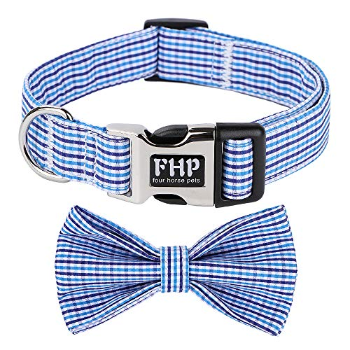 Fourhorse Cute Soft Dog and Cat Collar with Bowtie , Detachable Adjustable Bow Tie Collar Pet Gift (S, Blue Grid)
